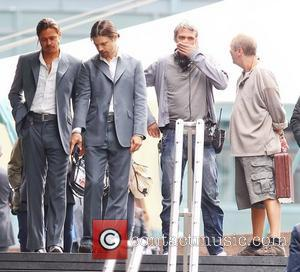 Brad Pitt and his stunt double filming a scene of the movie 'The Counselor' on location in London. The story...