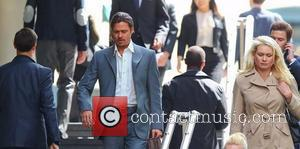 Brad Pitt filming a scene of his new movie 'The Counselor' on location in London. The story is about a...