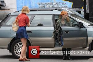 Jess Weixler and Jessica Chastain on the set of the new movie 'The Disappearance of Eleanor Rigby' in Manhattan New...