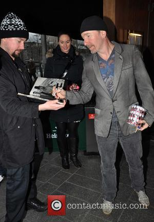 The Edge Members of U2 outside Harry Crosbie's Cafe Bar H  for their holiday party  Featuring: The Edge...