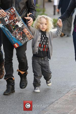 Fall Out Boy bassist Pete Wentz at The Grove with his son Bronx and new girlfriend Meagan Camper Los Angeles,...