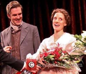 Dan Stevens and Jessica Chastain on stage during the Broadway opening night curtain call for 'The Heiress' at the Walter...