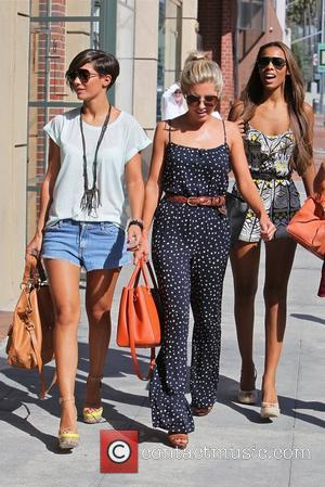 Frankie Sandford, Mollie King, Rochelle Wiseman, of The Saturday's  get manicures at a salon in Beverly Hills Los Angeles,...