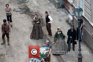Elizabeth Olsen and Tom Felton Actors on the set of 'Therese Raquin' filming on location in Budapest Hungary, Budapest -...