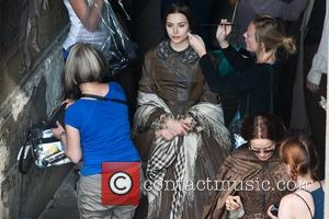 Elizabeth Olsen getting her hair touched up Actors on the set of 'Therese Raquin' filming on location in Budapest Hungary,...