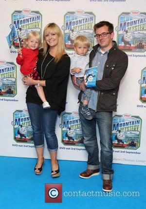 Jo Joyner with her husband and children Thomas & Friends Blue Mountain Mystery premiere held at the Vue cinema -...
