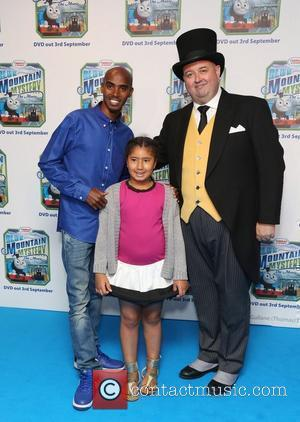 Mo Farah with his daughter Rihanna Thomas & Friends Blue Mountain Mystery premiere held at the Vue cinema - arrivals...