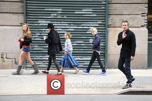 Actor Timothy Olyphant and family are seen walking in Soho in Manhattan  New York City, USA - 28.03.12