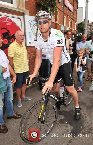 Andrew Flintoff Arrives on two wheels for the Tom Maynard Trust launch held at the Oval Cricket Ground. Flintoff and...