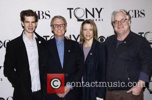 Andrew Garfield, Linda Emond, Mike Nichols, Philip Seymour Hoffman and Times Square