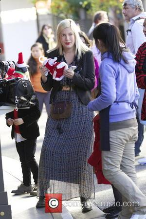 Tori Spelling Tori Spelling and her family visit Santa Claus and spend time shopping together at The Grove  Featuring:...