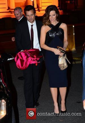Len Wiseman, Kate Beckinsale The stars of 'Total Recall' have dinner at Bridge Bar and Bistro before attending the after...