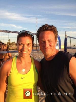 Matthew Perry posted this image on Lockerz with the caption: 'Beach volleyball all day with Misty May Treanor. This continues...