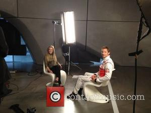Jenson Button posted this picture on Twitter with caption: Hello everyone! Today I'm at a secret filming for @JensonButton &...