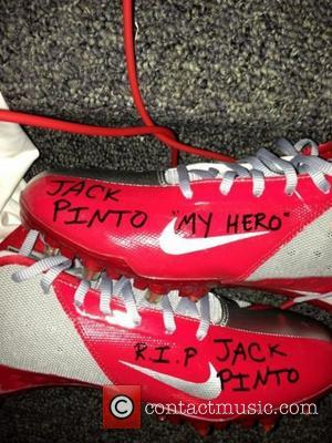 Victor Cruz posted this image to twitter with the caption: 'Today's game is for you Jack.' Supplied by Victor Cruz/Twitter/...
