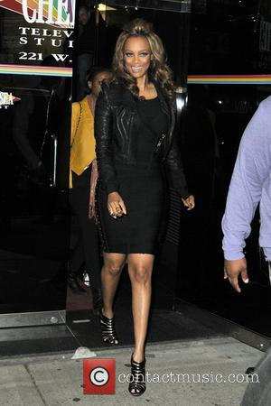 Tyra Banks seen departing the Chelsea Television Studios in Manhattan New York City, USA - 15.11.12