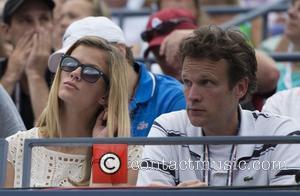 Brooklyn Decker, watches her husband Andy Roddick (USA) win his match US Open 2012 Men's Match - Fabio Fognini (ITA)...
