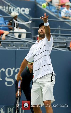 US Open 2012 Men's Match James Blake (USA) Vs. LuKas Lacko (SVK) with a score of 7-6, 6-2, 3-6 held...