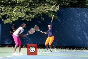Venus Williams and Serena Williams Arthur Ashe Kids Day 2012, held at USTA Billie Jean King National Tennis Center in...