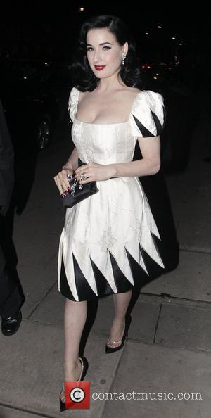 Dita Von Teese,  at the Italian Embassy for the launch of 'Valentino: Master Of Couture' exhibition at Somerset House....