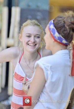 Dakota Fanning, Elizabeth Olsen and Boyd Holbrook on the set of their new movie 'Very Good Girls' in Brighton Beach,...