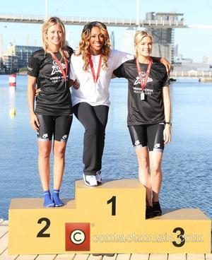 Holly Branson, Alexandra Burke,  Isabella Calthorpe Virgin Active London Triathlon - photocall at The Excel Centre London, England -...