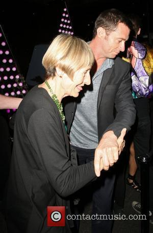 Hugh Jackman and his mother Grace arriving at the W hotel to dine at the Spice Market restaurant London, England...