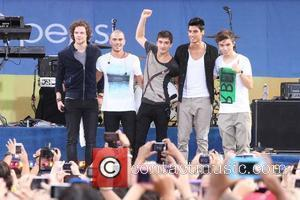 Jay McGuiness, Nathan Sykes, Max George, Tom Parker, and Siva Kaneswaran, of The Wanted  perform in Central Park as...