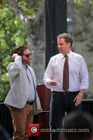 Zach Galifianakis and Will Ferrell promote their film 'The Campaign' at the Grove on entertainment news show 'Extra'  Los...