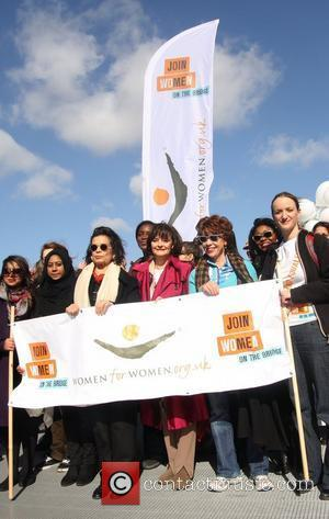Cherie Blair takes part in the Join me on the Bridge annual march for Women's International Day London, England -...