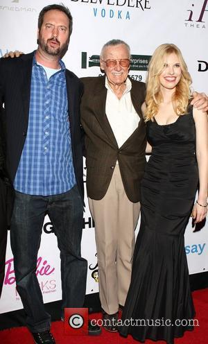 Tom Green, Stan Lee and Nikki Frakes The Premiere of ''With Great Power: The Stan Lee Story' at the iPic...