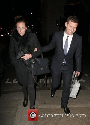 Dermot O'Leary with Dee Koppang leaving the Wolseley after dining with Bear Grylls and Jake Gyllenhaal. London, England - 02.02.12