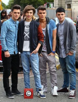 Jamie Hamblett, George Shelley, Josh Cuthbert and Jaymi Hensley of Union J X Factor contestants arrive at rehearsal studios ahead...