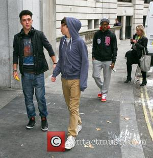 Jamie Hamblett aka JJ and George Shelley of Union J and Simeon Dixon of MK1  X Factor contestants outside...