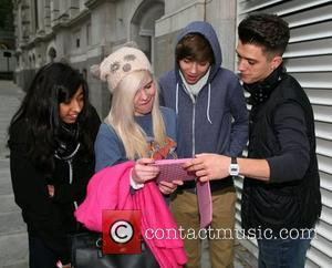 Jamie Hamblett aka JJ and George Shelley of Union J X Factor contestants outside their London hotel London, England -...