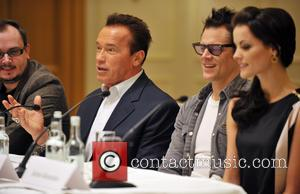 Arnold Schwarzenegger, Jaimie Alexander and Johnny Knoxville