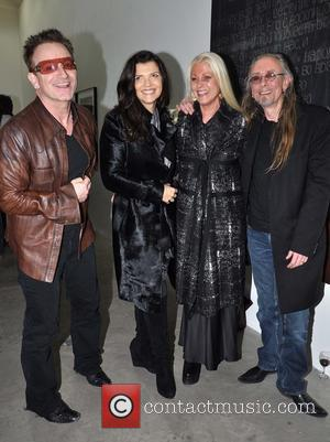 Bono, Ali, Sybille and Guggi - Artist Guggi's launch of his new art work Dublin Ireland Thursday 24th January 2013