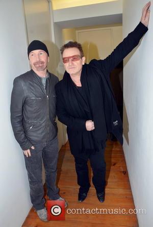 The Edge and Bono - Guggi Art Launch Dublin Ireland Thursday 24th January 2013