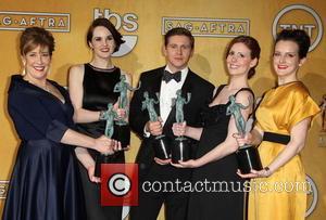 Phyllis Logan, Michelle Dockery, Allen Leech, Amy Nuttall and Sophie McShera - SAG Awards Press Room Los Angeles California United...