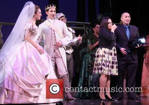 Laura Osnes, Santino Fontana, Maria Roca and Alan Chau - An on-stage marriage proposal at the Broadway musical 'Cinderella' New...