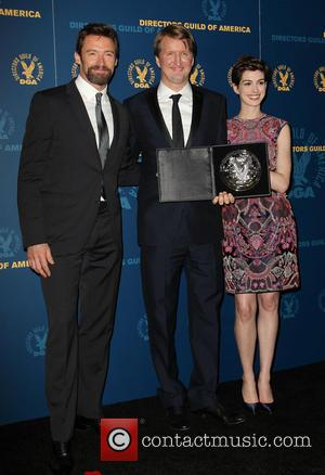Hugh Jackman, Tom Hooper and Anne Hathaway