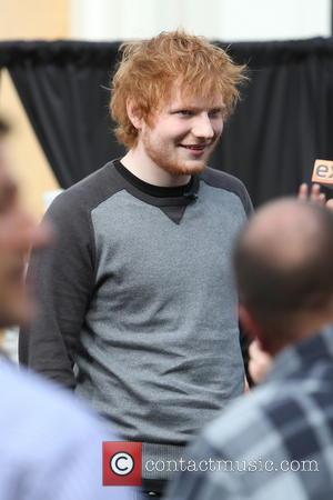 Ed Sheeran - Ed Sheeran at The Grove to appear and perform on entertainment news show 'Extra' Los Angeles California...
