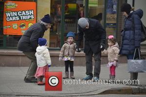 Matthew Broderick, Marion Broderick and Tabitha Broderick - Matthew Broderick takes his twin daughters Marion and Tabitha Broderick to school...