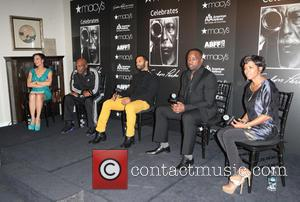 LtoR, Moderator, Michelle Miller, Kenny Leon, Omari Hardwick and Ma - Macy's Celebrates Black History Month at Herald Square New...