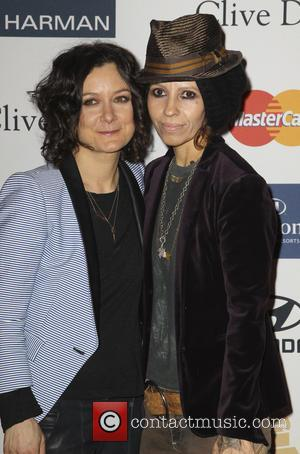 Sara Gilbert and Linda Perry - Clive Davis & The Recording Academy's 2013 Pre-Grammy Gala And Salute To Industry Icons...
