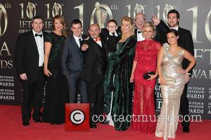 Brendan O'Carroll and cast of Mrs. Brown's Boys - Irish Film and Television Awards 2013 at the Convention Centre Dublin-...