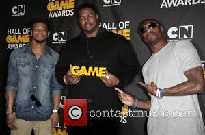 NFL players Jimmy Smith, Bryant McKinnie and Jacoby Jones - The Third Annual Cartoon Network Hall of Game Awards held...