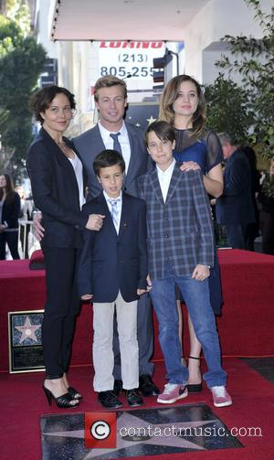 Simon Baker, wife Rebecca Rigg and family - Simon Baker is honoured with a star on the Hollywood Walk of...