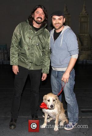 Dave Grohl, Dustin Harder and Sunny - Dave Grohl takes his daughters to the Broadway musical 'Annie' at the Palace...