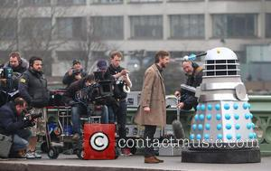 Doctor Who - Filming takes place on Westminster Bridge of...
